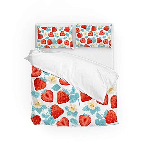 Soft Quilt Bedding Set Strawberry Flower Leaves Duvet Cover with Pillowcases Set 2 PCS 155 x 220 CM, Full Size
