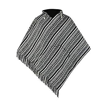 virblatt - poncho men | 100 % cotton | Mexican poncho Baja hoodie mens poncho hooded pancho mexican aztec cape - Abajo black L-XL