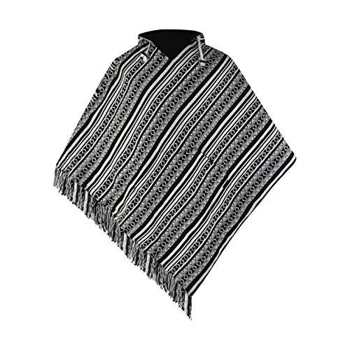 virblatt - Poncho Hombre   100 % algodón   Poncho Invierno Peruano   Reversible   Poncho Mexicano Ropa Hippie Rasta Capa - Abajo Black L-XL