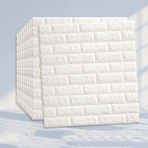 CLX Tapete 3D Ziegel Tapete Wandaufkleber Stereo Wandtattoo Papier Abnehmbare Selbstklebend Für Schlafzimmer Wohnzimmer Moderne Hintergrund TV-Decor 10 Stück,Weiß
