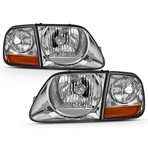 [SVT Lightning Style] VIPMOTOZ Chrome Housing OE-Style Headlight & Side Marker Corner Lamp Assembly For 1997-2003 Ford F-150 Pickup Truck, Driver & Passenger Side