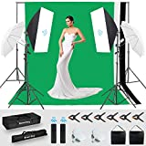 MOUNTDOG Photography Lighting Kit,6.6X 10ft Backdrop Stand System and 900W 6400K LED Bulbs Softbox and Umbrellas Continuous Lighting Kit for Photo Video Shooting,etc.