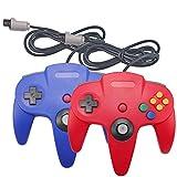 Joxde Controller für N64, 2 Stück Retro Nintendo 64 Gamepad Joystick für N64 System Video Game Konsole (Blau und Rot)