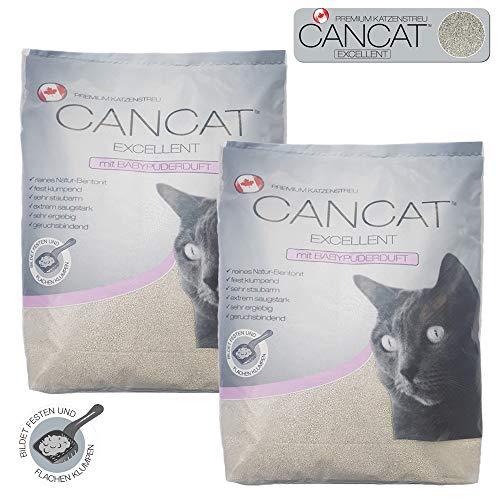 CANCAT 2x15 kg Excellent kanadische Premium Katzenstreu Klumpstreu Babypuderduft