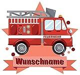 Samunshi Feuerwehr-Auto Wandtattoo Türschild mit Name personalisierbar Kinderzimmer Türaufkleber Baby Wandaufkleber in 9 Größen (25x22cm Mehrfarbig)