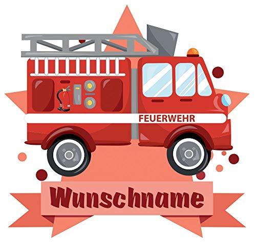 Samunshi® Feuerwehr-Auto Wandtattoo Türschild mit Name personalisierbar Kinderzimmer Türaufkleber Baby Wandaufkleber in 9 Größen (25x22cm Mehrfarbig)