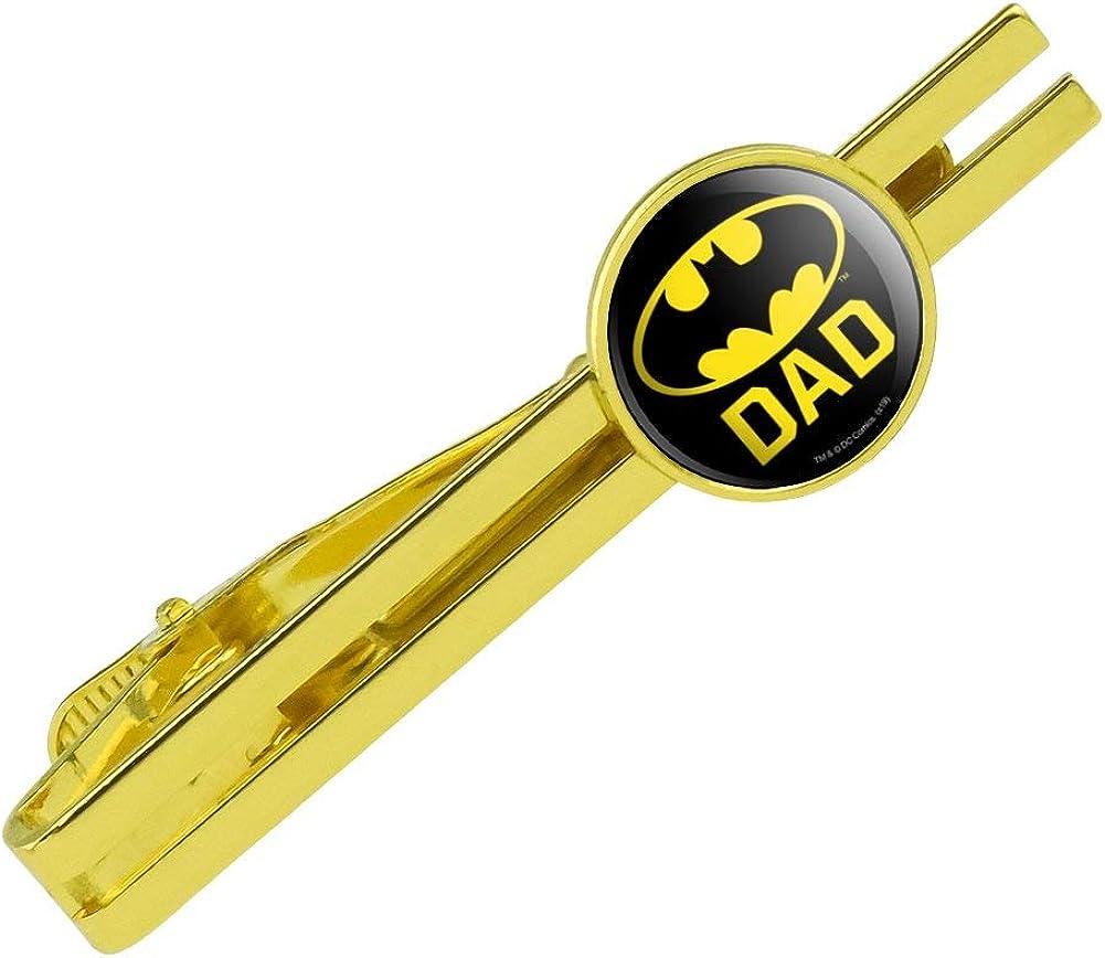 GRAPHICS & MORE Batman Bat Dad Shield Logo Round Tie Bar Clip Clasp Tack Gold Color Plated