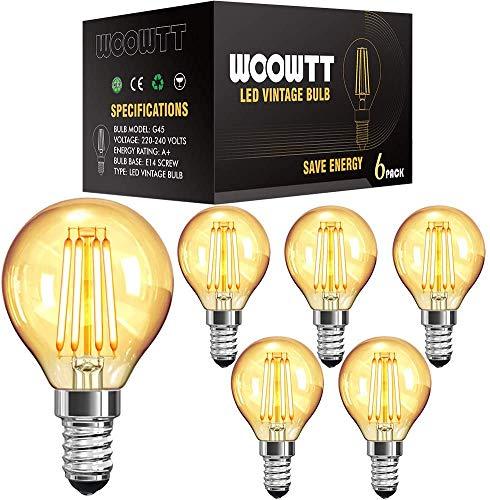LED Edison Glühbirne E14, Woowtt Vintage Glühbirne, Kleine 4W LED Filament Retro Glühlampen, Amber Warm Licht Globe G45, 220V, 4W, Nicht Dimmbar - 6 Stück