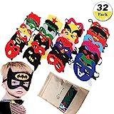 JunYito Maschere di Supereroi 32 Pezzi Bambini e Adulti Regalini Fine Festa Compleanno Carnevale Feste in Maschera Cosplay (32 Pezzi Maschere)