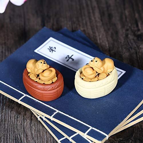 XueQing Pan Tea huisdier Dier Zodiac Lucky CAI Goud Sculptuur Theebak Ornamenten Yellow flower basket