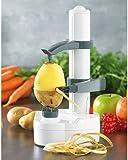 Rosenstein & Söhne Pelador de patatas: Peladora eléctrica de frutas y verduras, Hoja de acero inoxidable (Eléctrico Pelador de frutas)