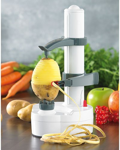Rosenstein & Söhne Kartoffelschäler: Elektrischer Obst- und Gemüseschäler, Edelstahl-Klinge (Elektrischer Schäler)
