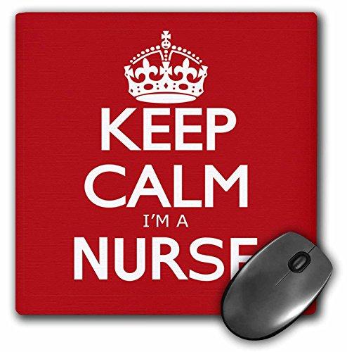 3dRose LLC 8 x 8 x 0.25 Inches Mouse Pad, Keep Calm Im A Nurse, Red (mp_163857_1)