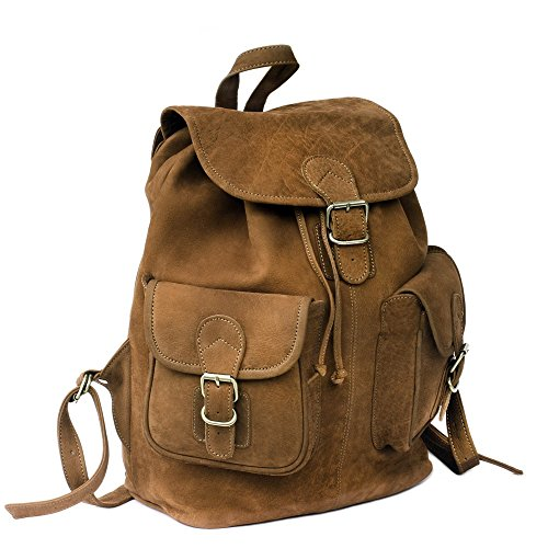 Großer Lederrucksack Größe L Laptop Rucksack bis 15,6 Zoll, für Damen und Herren, aus Büffel-Leder, Braun, Hamosons 560