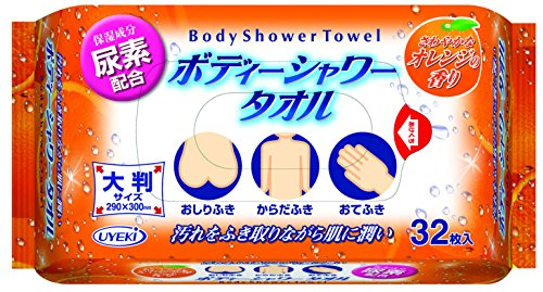 ボディーシャワータオル 一枚で全身拭ける水のいらないシート 身体にやさしい保湿成分「尿素配合」 32枚入