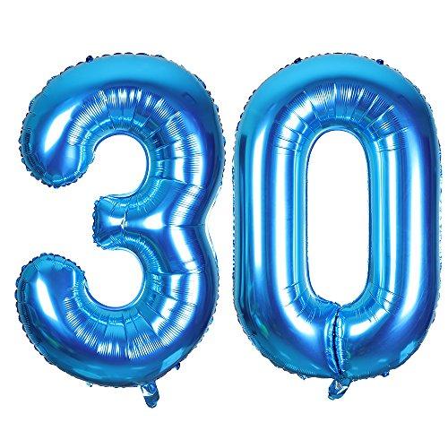 SMARCY Globos Número 30 Decoración de Cumpleaños 30 Años Fiesta de Cumpleaños (Azul)