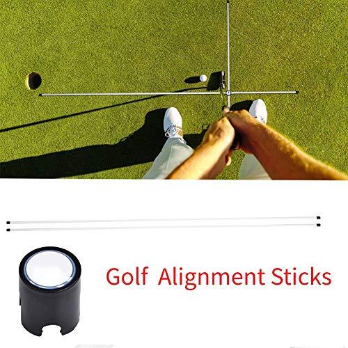 Wakects 2 x Golf Alignment Sticks, Golf Swing Trainer Aid Indicator Alignment Rods für Anfänger(Weiß)