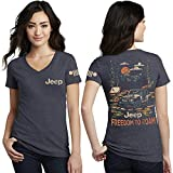 Jeep Ladies Freedom to Roam V-Neck T-Shirt for Womens Navy Blue