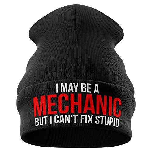 Purple Print House Mechanic Gifts - May Be a Mechanic Cant Fix Stupid - Funny Beanie Hat Mechanics Gifts Winter Hat Mens Gifts (Dark Grey)