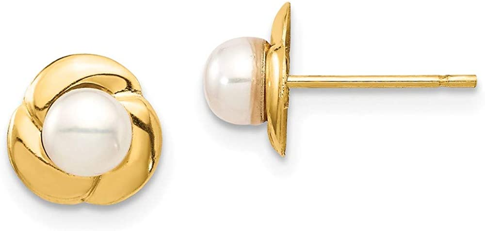 14k Yellow Gold 5mm White Button Freshwater Cultured Pearl Post Stud Earrings Ball Fine Jewelry For Women Gifts For Her