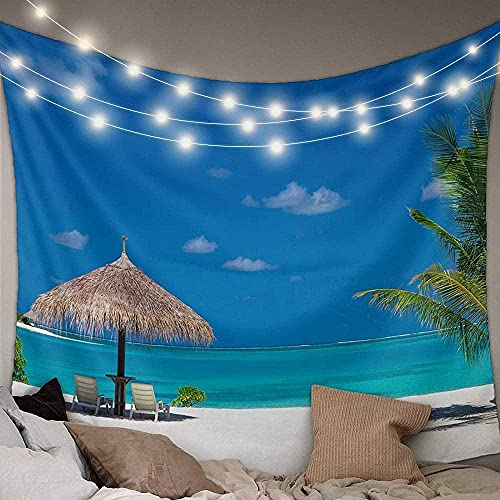 Tapiz de Playa Junto al mar con Palmera Tropical, Cielo Azul, artículos para el hogar, Alfombrilla de Picnic al Aire Libre, hogar, 150 * 200 cm