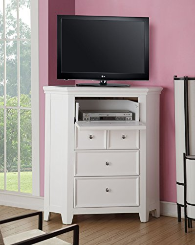 """Major-Q 44"""" H Contemporary Style Casual White Finish 3-Drawer Corner TV Console with Media Top Compartment,"""