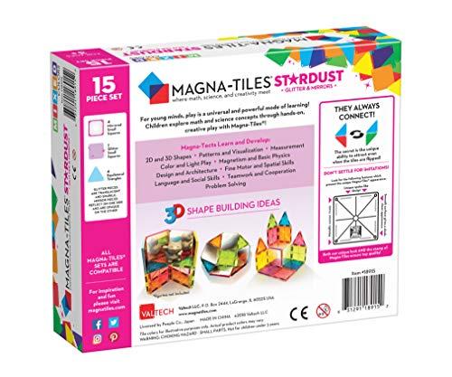 Magna-Tiles Juego de 15 Piezas de Stardust, diseño Original, galardonado con Azulejos magnéticos de construcción…