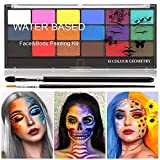 Skymore Pintura Corporal Pintura Arte Corporal,Pintura Facial, Juego de Maquillaje para Niños Con Paletas Pinturas Fluorescentes Pinceles Flashes Esponjas para El Maquillaje de Los Niños