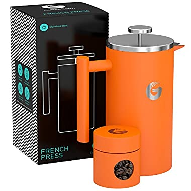Large French Press Coffee Maker – Vacuum Insulated Stainless Steel, 34 floz, Orange
