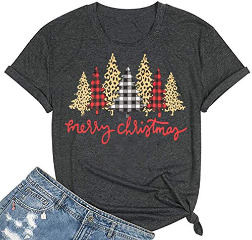 Beopjesk Christmas Shirts Womens Leopard Plaid Trees Printed Casual Short Sleeve Graphic Tees Tops (L, A)