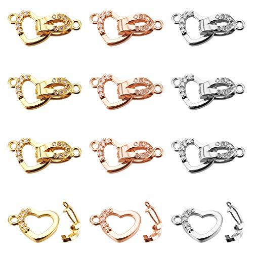 NBEADS 6 juegos de latón con circonita cúbica y cierre plegable, 3 colores de corazón de latón con circonita cúbica para pulseras, collares, joyería, manualidades