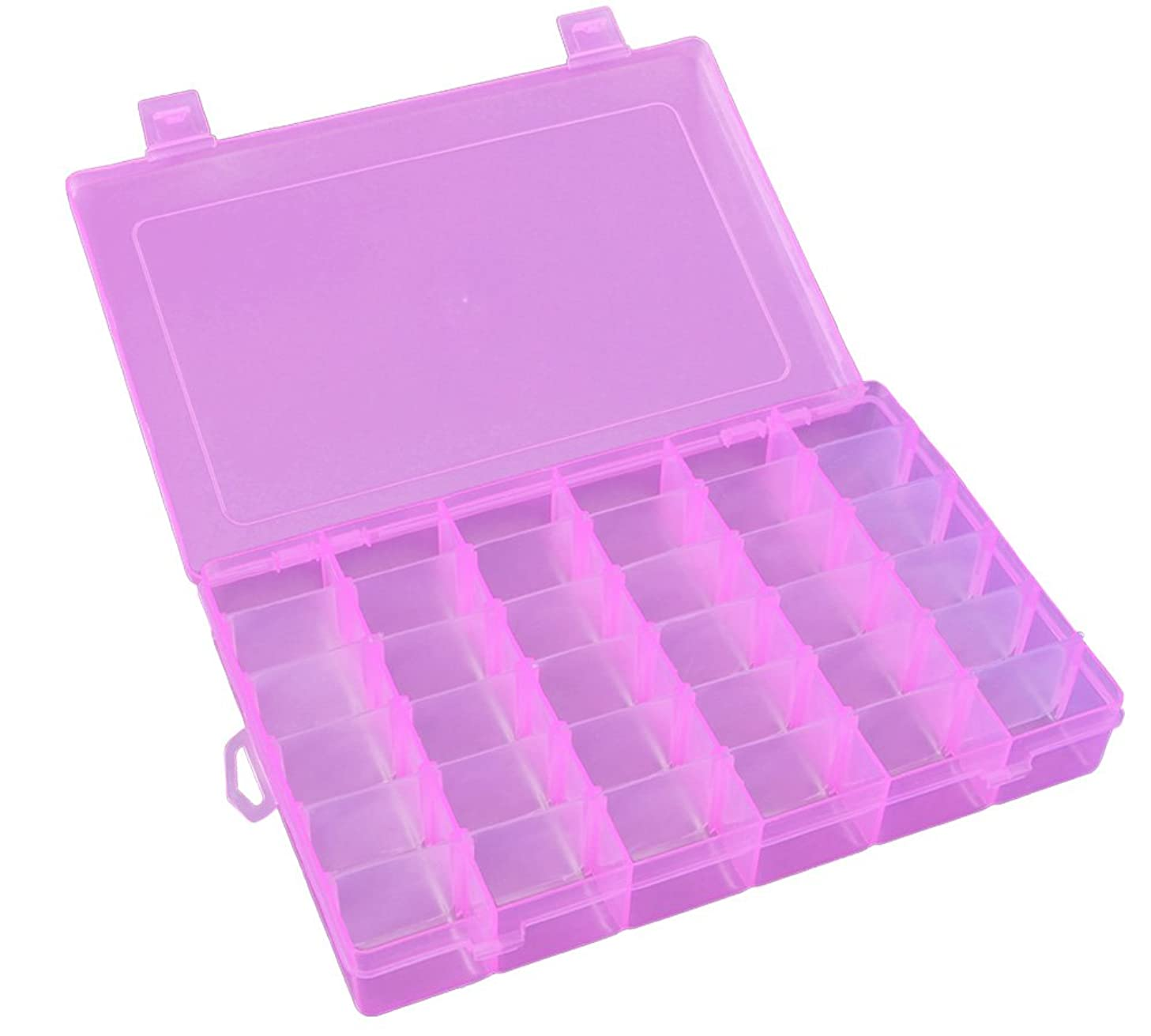 Qualsen Transparent Bead Storage Jewelry Organizer Storage Container Plastic Organizer Box with Adjustable Dividers for Sorting Earrings, Rings, Beads and Other Mini Goods 36 Grid 1PC (Pink)