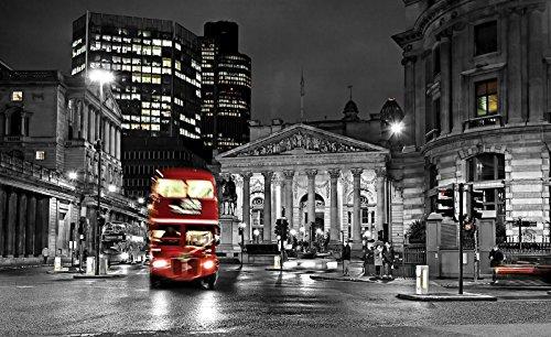 Forwall vliesfotobehang, fotobehang, behang, muurschildering, vlies, wereld-der dromen| Londen en rode dubbele dekker, fotobehang, Mural 20095_VE-AW, stad stedentafel, Engeland, Londen bus Altstad, rood VEXL (208cm. x 146cm.) zwart en wit, rood, grijs.