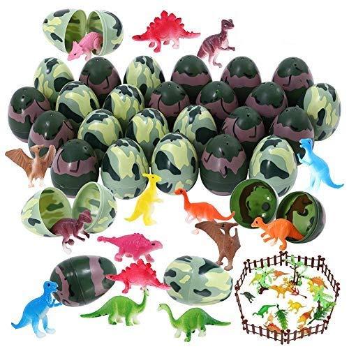 Twister.CK 38Pcs Uova di Pasqua riempite con Mini Dinosauri per bomboniere a Tema Pasquale, Caccia alle Uova di Pasqua, riempitivi per cestini, Forniture per premi in Classe, Regalo di Compleanno