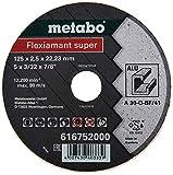 Metabo 616752000 616752000-Disco de tronzar para Amoladora Angular Flexiamant Super A30-O Aluminio Plano Ø 125 x 2,5 x 22,22 mm (Envase de 25 Ud), 0 V, Negro, Size