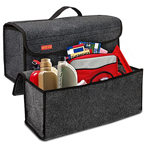 An image of the GADLANE Car Boot Organiser For Car Large But Compact - Anti-slip Boot Tidy Organiser Declutters Tools & Travel Accessories, Dark Grey, Vehicles