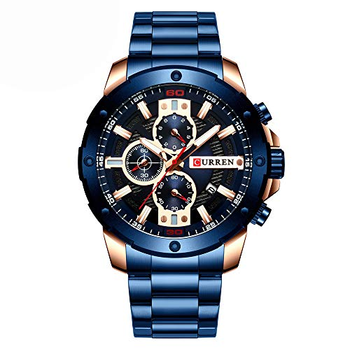 CURREN 8336 Herren Quarzuhr Edelstahlband Mode Multifunktions Armbanduhr 3ATM Chronograph Kalender Datum Uhren