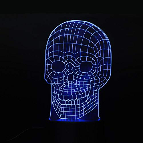 3D schedel nachtlampje, DIY illusie slaapkamer lamp, LED schedel nachtlampje met 7 kleuren knippert, USB opladen, of 3 x AA batterij (niet inbegrepen).