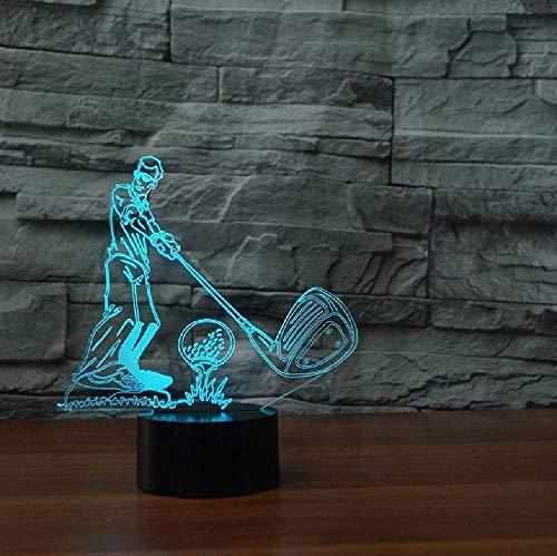 Bola de golf 3D, ilusión visual, lámpara transparente de acrílico, luz nocturna LED, cambio de color, táctil, lámpara de mesa con Bluetooth