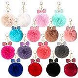 Cieovo 16 Pieces Fluffy Pom Poms Ball Keychains Bow Rhinestone Pompoms keyrings for Car Bag DIY Accessories