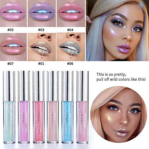 6 Farben Set Flüssigkristall Glow Shimmer Lipgloss Laser Holographische Lip Tattoo Lippenstift...