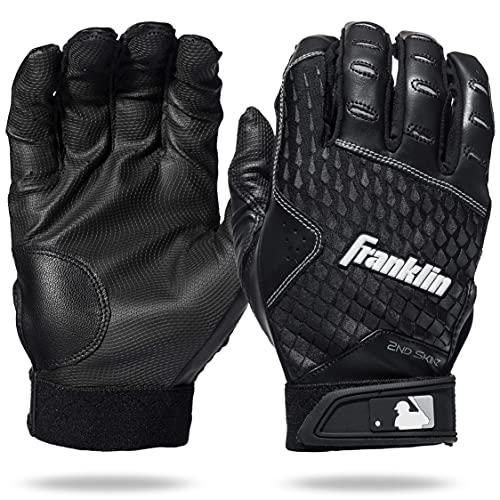 Franklin Sports 2nd-Skinz® - Guantes de bateo, Color Negro y Negro