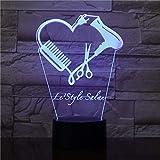 Tijeras de peluquería Led Night Light 3D Tijeras de peluquería Iluminación decorativa Belleza Peluquería Regalos Juguetes para niños Regalos