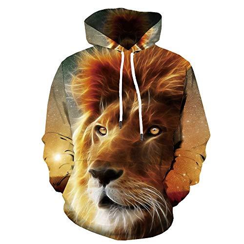 Sweatshirt for Men Women, 3D Hoodie Sweatshirts Animal Lion Long Sleeve Sweatshirt Pocket Hoodie XL