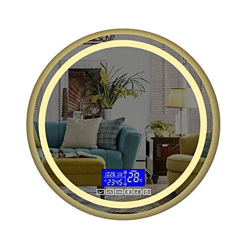 Espejo de Pared para baño de 600 x 600 mm, LED Iluminado con Almohadilla antivaho de Altavoz Bluetooth incorporada e Interruptor de Sensor táctil (tamaño: 700 mm)