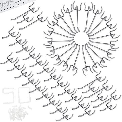 cersaty® 50 Stk Lochwandhaken Werkzeugwand 25mm Eu Stecktafel Haken für Supermarktregale, Baumärkte, Werkzeugräume, Länge 10cm/5cm