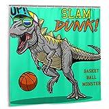 Cortina de Ducha, Crazy Monster Dinosaur Playing Basketball Slam Dunk Slogan Set de Cortinas de baño con Ganchos