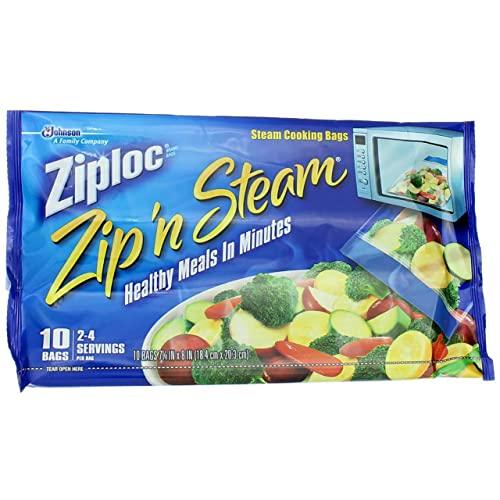 Ziploc Zip'N Steam Cooking Bags, Medium, 10-Count (Pack of 4)