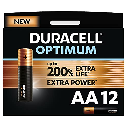 Duracell - NUEVO Pilas alcalinas Optimum AA , 1.5 Voltios LR6 MX1500, paquete de 12