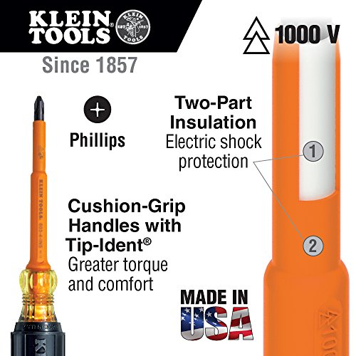 Klein Tools 33532-INS Electrical Insulated Screwdriver Set of 2, 4-Inch Phillips andCabinet Set, Made in USA
